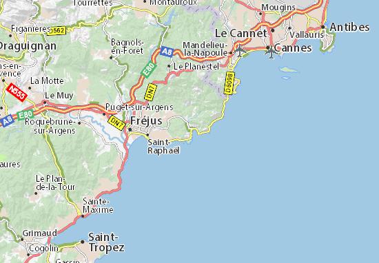 Carte d taill e agay plan agay viamichelin - Meteo marine port camargue saint raphael ...