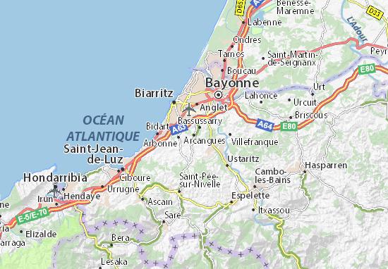 Arcangues Map