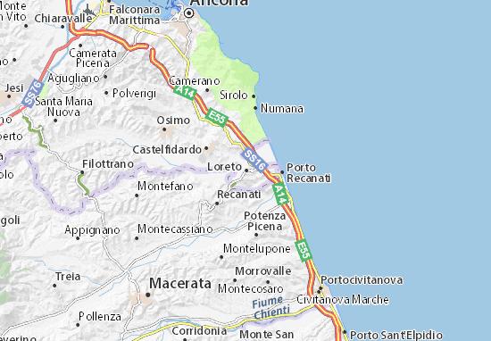 Cartina Geografica Marche.Mappa Loreto Cartina Loreto Viamichelin