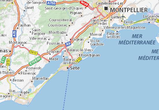 Karte Stadtplan Frontignan