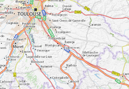 Baziège Map