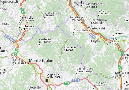 Kaart Plattegrond Gaiole in Chianti