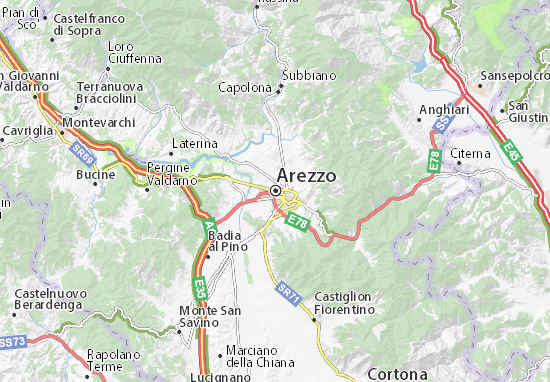 Arezzo Map: Detailed maps for the city of Arezzo - ViaMichelin