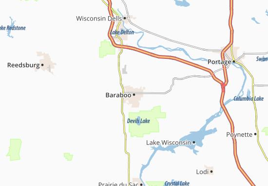 Kaart Plattegrond Baraboo
