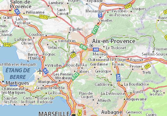 Carte d taill e luynes plan luynes viamichelin - Distance salon de provence aix en provence ...