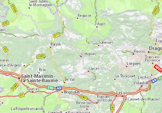 Kaart Plattegrond Cotignac
