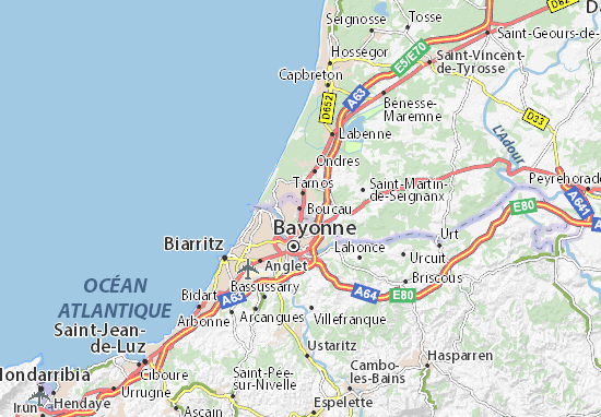 Kaart Plattegrond Boucau