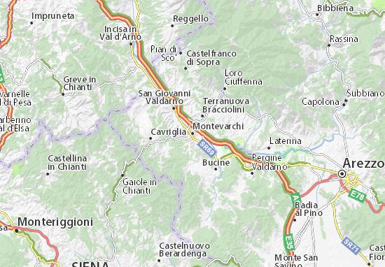 Kaart Plattegrond Montevarchi