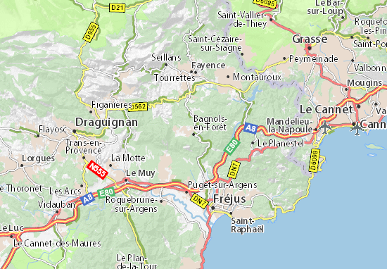Kaart Plattegrond Bagnols-en-Forêt