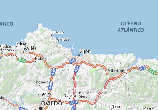 Karte Stadtplan Gijón