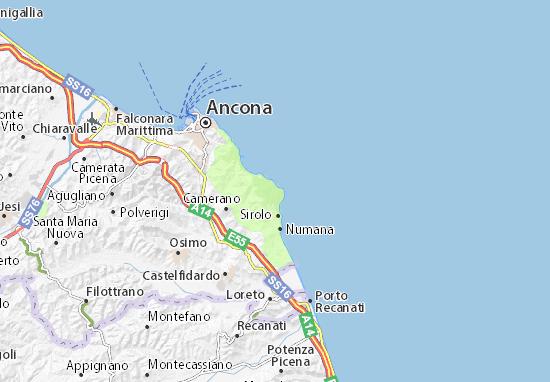 Cartina Marche Conero.Mappa Michelin San Pietro Al Conero Pinatina Di San Pietro Al Conero Viamichelin
