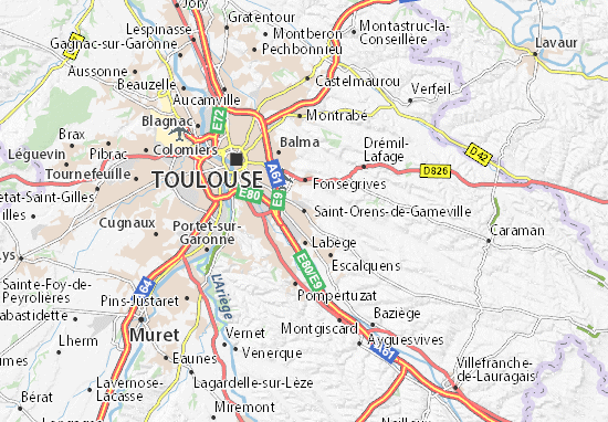 Kaart Plattegrond Saint-Orens-de-Gameville