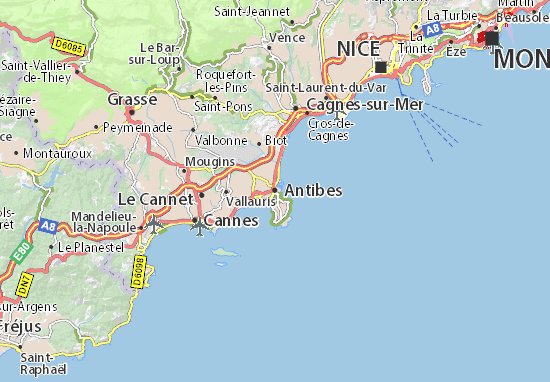 Mappa antibes cartina antibes viamichelin for Garage ad la roquette sur siagne