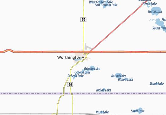 Kaart Plattegrond Worthington