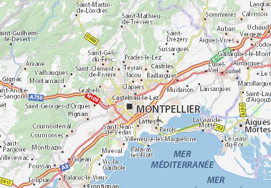 Kaart Plattegrond Castelnau-le-Lez