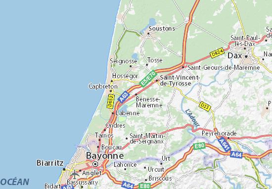 Mapa Plano Bénesse-Maremne