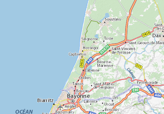 map of capbreton michelin capbreton map viamichelin. Black Bedroom Furniture Sets. Home Design Ideas