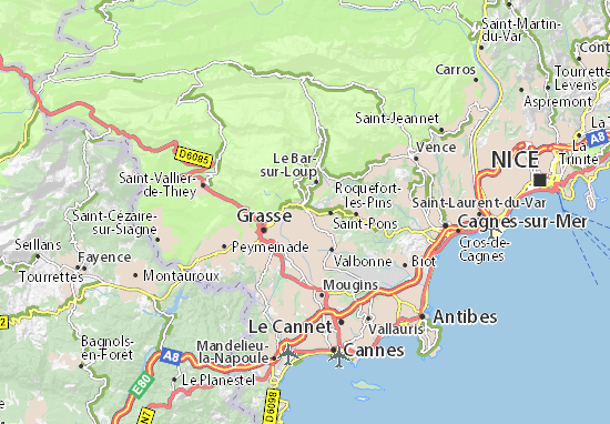 Map Chateauneuf_Grasse 06740 Alpes_Maritimes France on Car Rental Frejus
