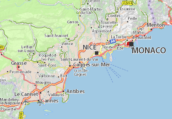 Map 0f South Of France.Map Of French Riviera Michelin French Riviera Map Viamichelin