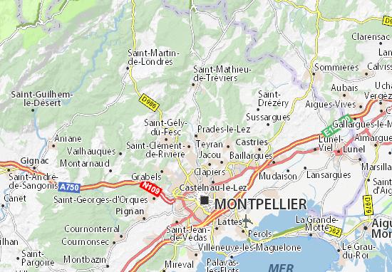 Kaart Plattegrond Prades-le-Lez