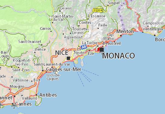 Kaart Plattegrond Beaulieu-sur-Mer