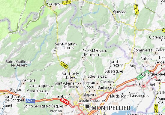 Mapa Plano Saint-Mathieu-de-Tréviers