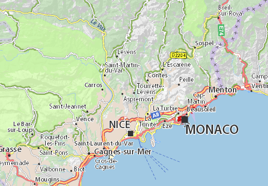 Kaart Plattegrond Tourrette-Levens