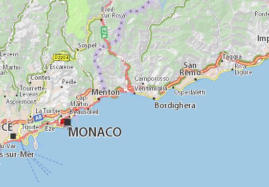 Monaco Italien Karte.Karte Stadtplan Ventimiglia Viamichelin
