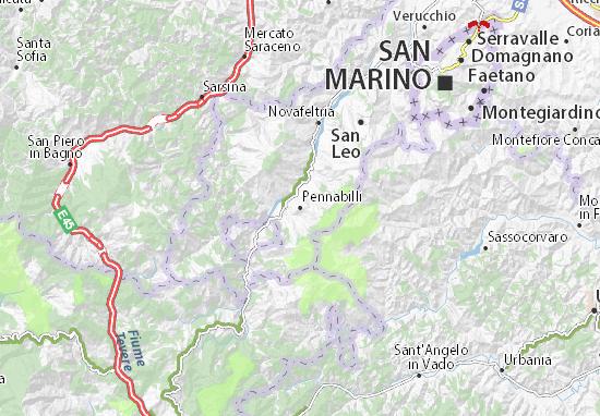 Kaart Plattegrond Pennabilli