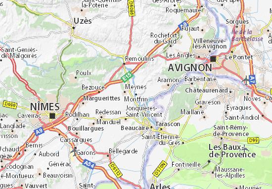 Karte Stadtplan Montfrin