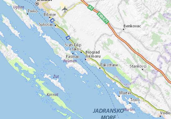 Karte Stadtplan Biograd na moru