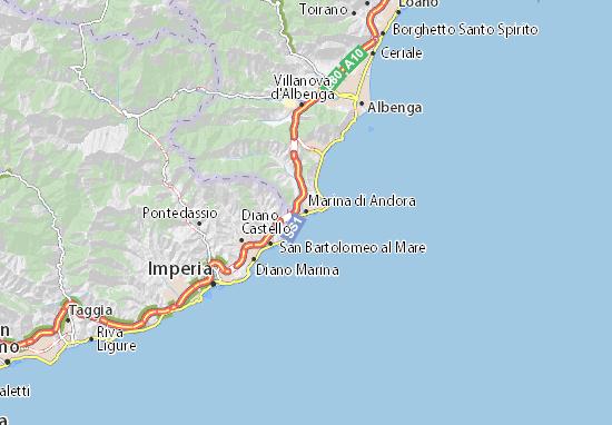 Karte Stadtplan Marina di Andora