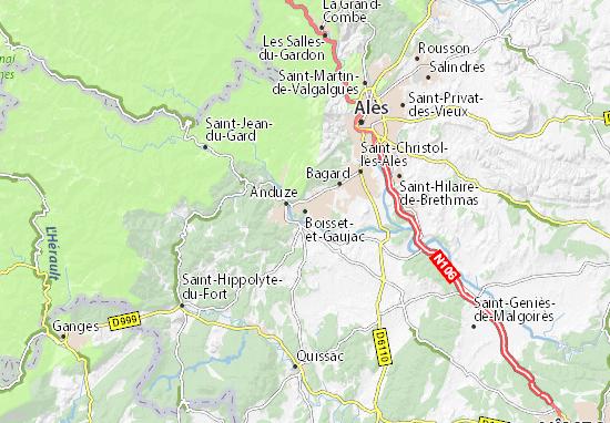Kaart Plattegrond Boisset-et-Gaujac