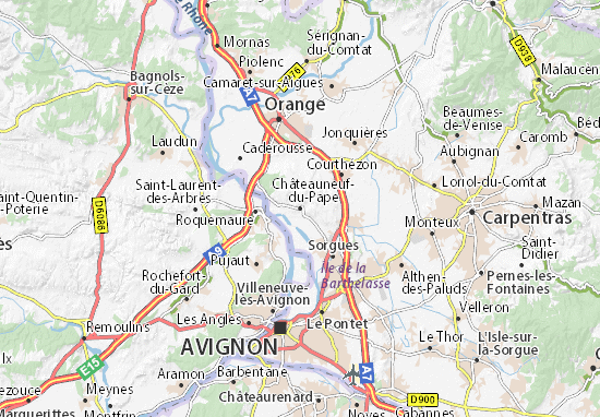 Kaart Plattegrond Châteauneuf-du-Pape