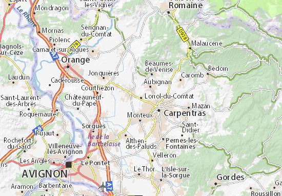 Kaart Plattegrond Loriol-du-Comtat