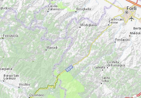 Forli Italy Map.Detailed Map Of Tredozio Tredozio Map Viamichelin