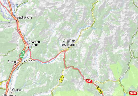 Kaart Plattegrond Digne-les-Bains