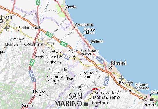 Karte Stadtplan San Mauro Pascoli