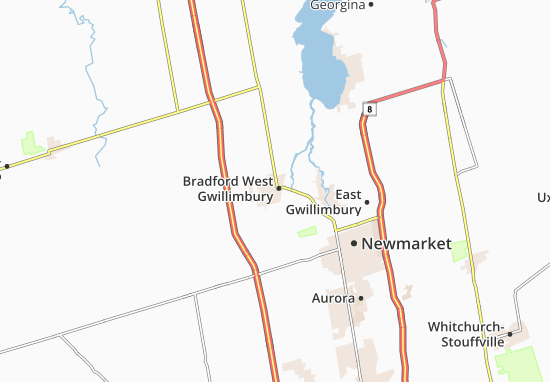 Karte Stadtplan Bradford West Gwillimbury