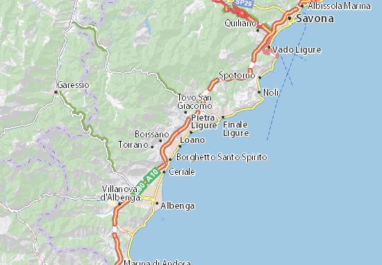 Karte Stadtplan Pietra Ligure
