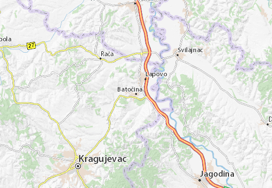 lapovo mapa Mapa Batočina   plano Batočina   ViaMichelin lapovo mapa