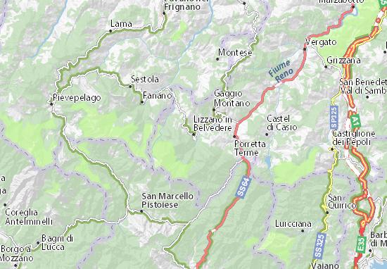 Lizzano in Belvedere Map