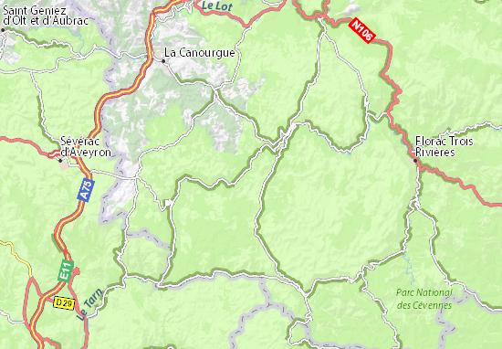 les gorges du tarn carte Carte détaillée Gorges du Tarn   plan Gorges du Tarn   ViaMichelin