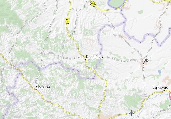 koceljeva mapa Mapa Koceljeva   plano Koceljeva   ViaMichelin koceljeva mapa