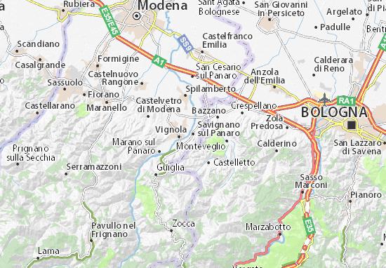 Karte Stadtplan Savignano sul Panaro