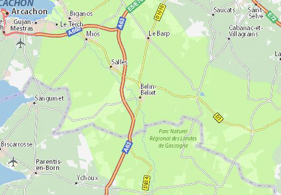 Kaart Plattegrond Belin-Béliet