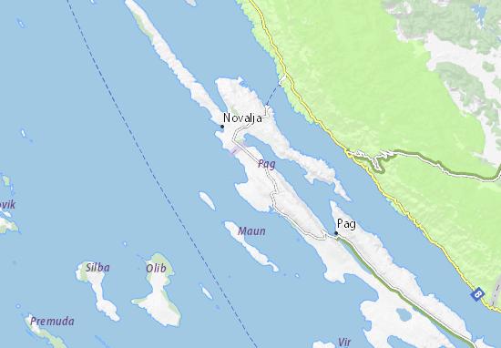 Carte-Plan Otok Pag