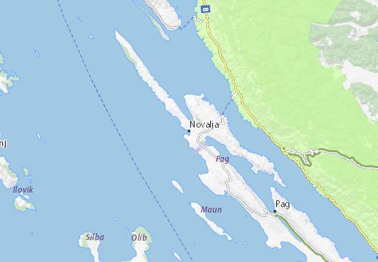 Kaart Plattegrond Novalja