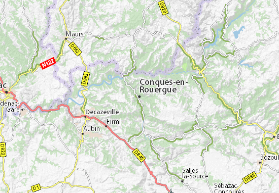 map of conques en rouergue michelin conques en rouergue. Black Bedroom Furniture Sets. Home Design Ideas