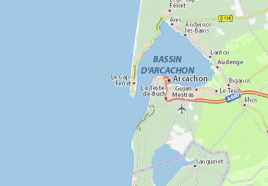 Carte Bordeaux Cap Ferret.Carte Detaillee Cap Ferret Plan Cap Ferret Viamichelin